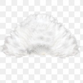 White Feather Fan Material Decoration - White Feather Black Pattern PNG