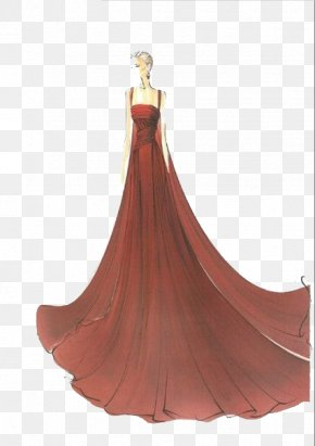 Hand-painted Wedding Dress Model Illustration - Drawing Fashion Illustration Croquis Sketch PNG