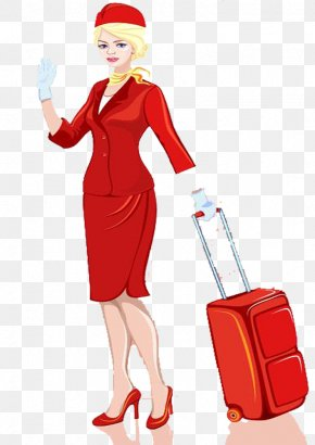 Drag And Drop The Flight Attendants - Airplane Flight Attendant Suitcase Illustration PNG