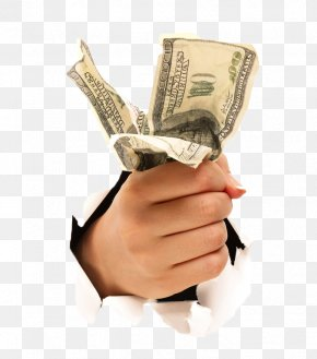 Broken Hand Holding Dollar Bills - Hand United States Dollar PNG
