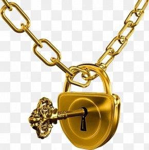 Golden Lock Key - Keychain Lock Door PNG