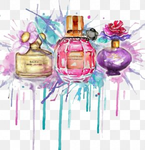 Watercolour Splash - Perfume Drawing Watercolor Painting Fashion Illustration PNG