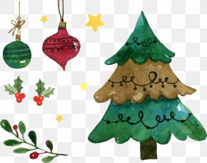 Vector Hand-painted Christmas Tree Decoration - Christmas Tree Watercolor Painting Christmas Ornament PNG