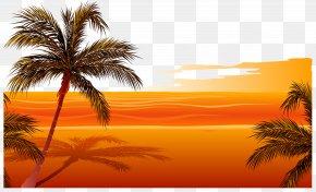 Vector Sunset Beach - Beach Sunset Drawing Clip Art PNG
