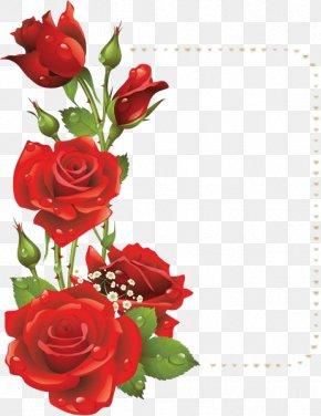 Red Flower Frame File - Flower Rose Red Picture Frame Clip Art PNG