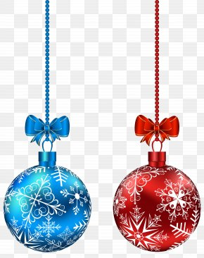 Blue And Red Hanging Christmas Balls Clip-Art Image - Christmas Ornament Christmas Day PNG