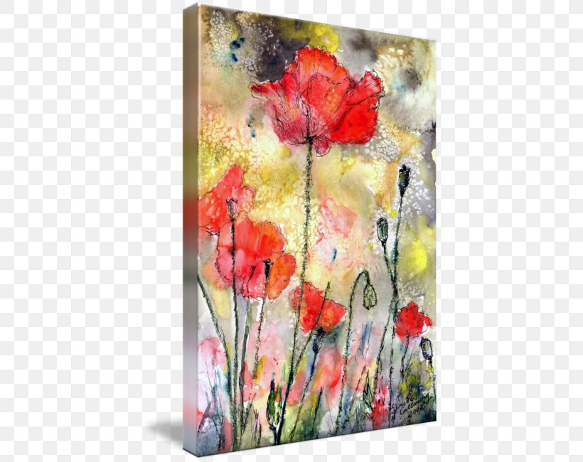 Floral Design Watercolor Painting Poppy Art Gallery Wrap, PNG, 419x650px, Floral Design, Acrylic Paint, Art, Artwork, Canvas Download Free