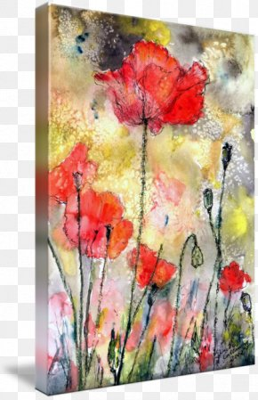 Ink Watercolor Painting - Floral Design Watercolor Painting Poppy Art Gallery Wrap PNG