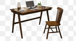 New Chinese Simple Solid Wood Desk And Chair - Table Folding Chair Desk Furniture PNG