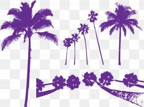 Purple Areca Tree Silhouette - Areca Palm Tree Purple Arecaceae PNG