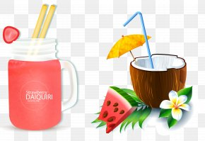 Vector Hand-painted Summer Special Drink - Cocktail Martini Coconut Water Coconut Milk PNG