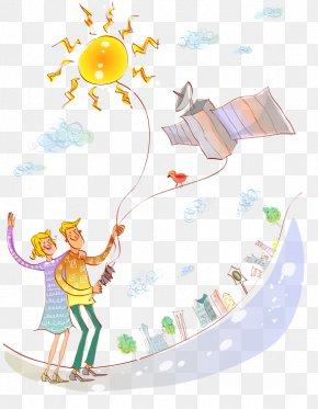 Kite Flying Men And Women - Illustration PNG