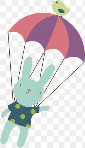 A Rabbit With A Parachute - Rabbit Illustration PNG