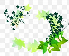Vector Green Leaf - Butterfly Flower Vine Clip Art PNG