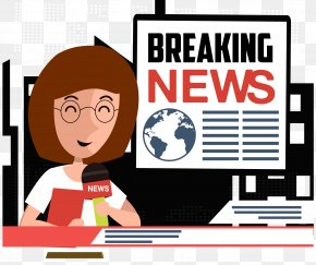 News Anchor - News Cartoon Journalist Illustration PNG