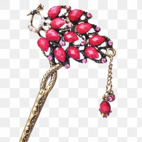 Art Red Retro Peacock Hairpin - Hairpin Red Jewellery Hair Stick PNG
