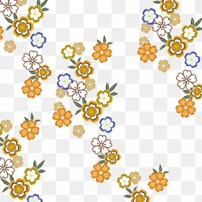Japanese Yellow Flower Pattern - Floral Design Clip Art PNG