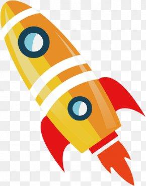 Colored Cartoon Rocket - Flight Rocket PNG