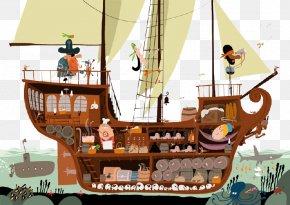 Pirate Ship Sailing - Piracy Adobe Illustrator Galleon PNG
