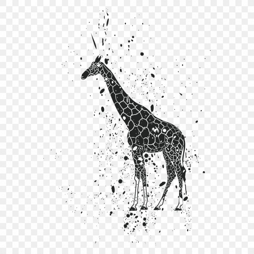 Lion Giraffe Ink Clip Art, PNG, 1000x1000px, Giraffe, Animal, Black And White, Elephant, Giraffidae Download Free