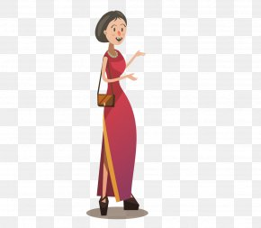 Woman Wearing A Cheongsam Vector Material - Photography Cartoon Journalist Illustration PNG