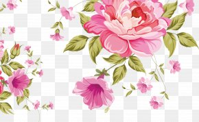 Pink Roses Background - Pink Flowers Pattern PNG