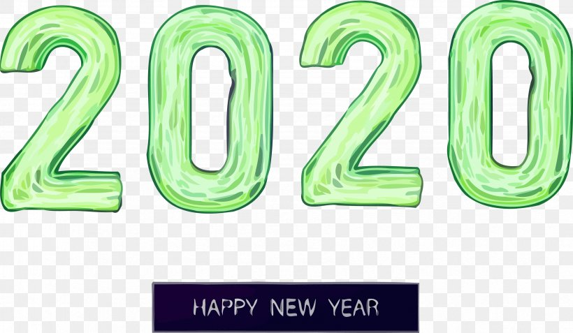 Happy New Year 2020 Happy 2020 2020, PNG, 3373x1964px, 2020, Happy New Year 2020, Green, Happy 2020, Number Download Free