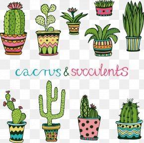 Vector Cartoon Cactus - Cactaceae Succulent Plant Doodle Drawing PNG