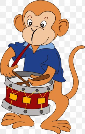 Drums Monkey - Cartoon Monkey Numbered Musical Notation PNG