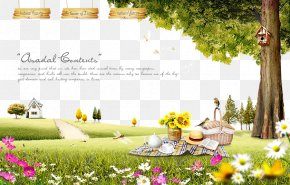 Straw Hats And Baskets On The Grass - Picnic Fukei Illustration PNG
