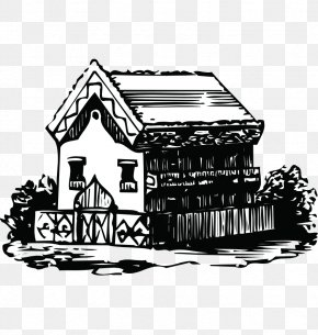 Hand-painted Black And White House Sketch - Fukei Black And White PNG