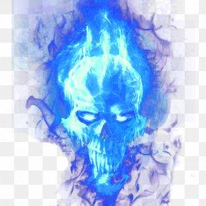 Blue Flame Skull - Hoodie Skull Flame Blue PNG