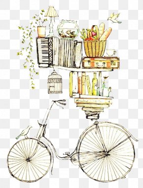 Wonderland Picture Painted Image,Bicycle And Books - Drawing Watercolor Painting Printmaking Illustration PNG