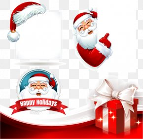 Santa Claus And The Panels Vector Material - Santa Claus Christmas Gift Illustration PNG