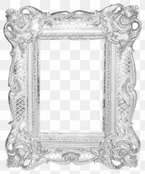 Silver Frame Pattern - Picture Frame Silver Mirror PNG