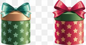 Bunny Gift Box With Elements - Christmas Gift Decorative Box Clip Art PNG
