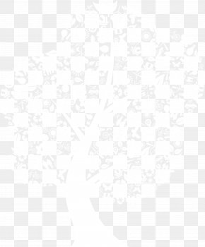 Vector Mosaic Tree - Black And White Point Angle Pattern PNG