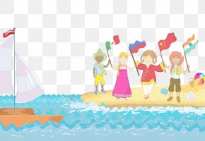 Celebrated On The Beach - Child Beach Illustration PNG