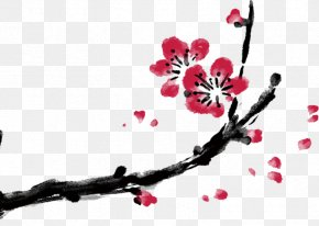 China Wind Bloom Decorative Material - Ink Wash Painting Plum Blossom Poster Clip Art PNG
