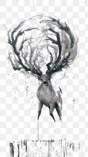 Creative Ink Deer Hand Painted - Deer Watercolor Painting Ink Wash Painting Sketch PNG