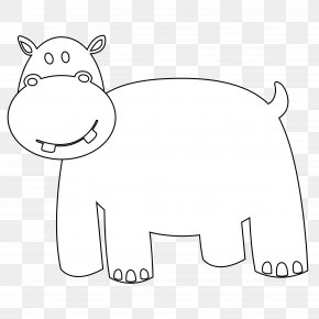 Black And White Drawings Of Animals - Hippopotamus Coloring Book Black And White Clip Art PNG