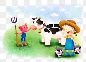 Farm Dairy Cow - Cattle Cow Wallpaper Cartoon Wallpaper PNG