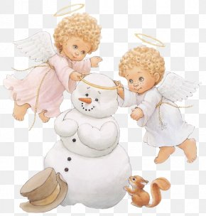 Cute Little Angels With Snowman - A Christmas Countdown With Ruth J. Morehead's Holly Babes Angel Wallpaper PNG