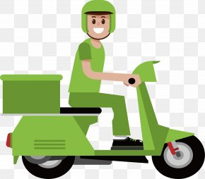 Green Motorcycle Courier - Motorcycle Courier Euclidean Vector PNG
