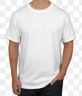 Shirt - T-shirt Hanes Crew Neck White Sleeve PNG
