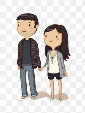 Couple Holding Hands - Cartoon Drawing Couple Holding Hands PNG