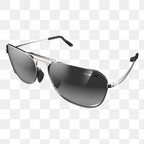 Sunglasses - Aviator Sunglasses Silver Polarized Light PNG