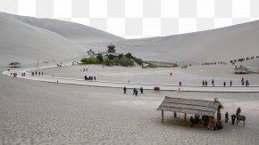 Crescent Lake In Dunhuang, Gansu Seven - Crescent Lake Yueya Spring Hexi Corridor U9cf4u6c99u5c71 Wallpaper PNG