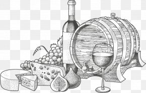 Hand-painted Wine And Cheese - Wine Blue Cheese Illustration PNG