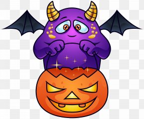 Purple Halloween Monster PNG Clipart Image - Halloween Monster Jack-o'-lantern Clip Art PNG